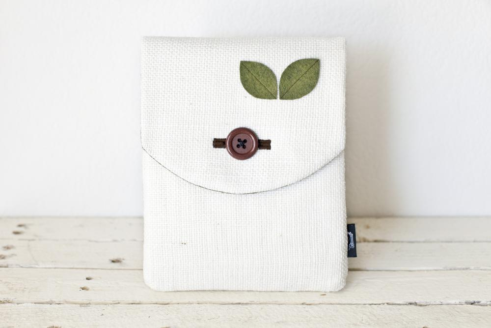iPad Case - Natural Eco Burlap & Green Felt Leaves - Padded with Pocket