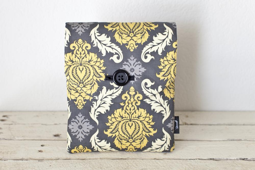 iPad Case - Grey Yellow Damask - Padded with Pocket