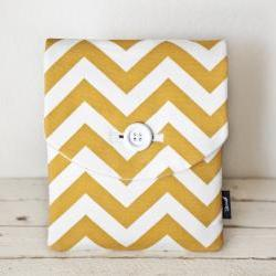 iPad Case - Chevron Yellow Gold White - Padded with Pocket